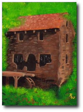 Standing in the old mill's shadows, Donny Ray could believe this was a place spirits dwelled. Artwork©2008, R.W.Ware