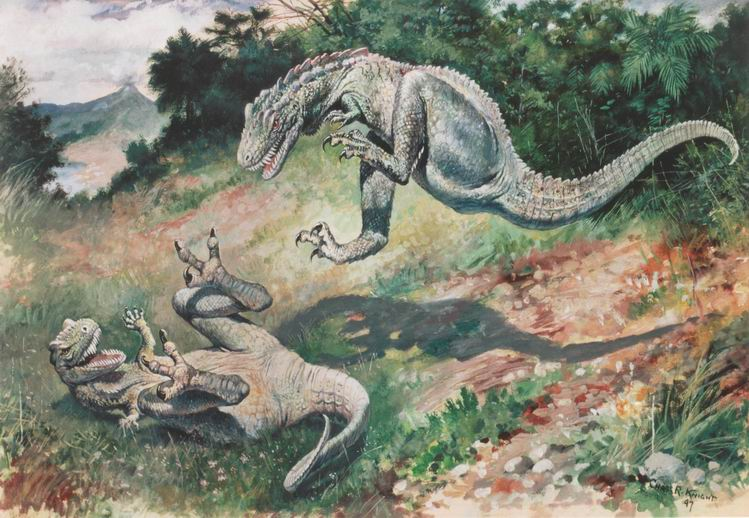 "Artwork : This is a detail of ""Laelaps"" by Charles Knight. It was ...: www.flashfictiononline.com/f20090204-dinosaur-bruce-holland-rogers..."