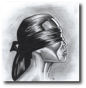 Knowing it would come to this, she produced two dark kerchiefs. She bound one tightly around Straven's eyes, and the other around her own. Artwork©2009, R.W.Ware