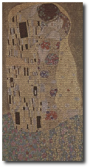 Simmy was an unaccounted-for variable  —  an anomaly. Artwork : The painting  by Gustav Klimt, overlaid with the human genetic code. The original painting is in the public domain; the typeface is the free bitmap font . These versions (above and the larger version you reach by clicking on the image) are hereby released using the   License.