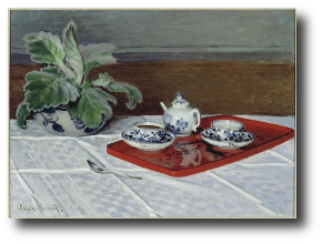 The hands that held the teapot were dotted with brown age spots and the veins stood up in protruding ridges. Artworkby Claude Monet, 1872. This work is in the public domain.