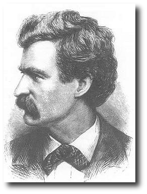 "Then I heard  then a horrible ""gritting"" of teeth, and finally a piping female voice: Y-e-s? (rising inflection.) Did you wish to speak to me? Artwork : This 1874 engraving of Twain is in the public domain."