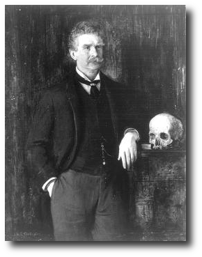 Photograph of a painting of Ambrose Bierce by J.H.E. Partington. Artwork : Photo from the  by way of .