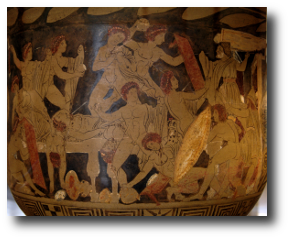 """Well, old servant,"" he said, ""have your masters been kind to you since I made you work for me round Ilion?"" Artwork : This is an image of the slaughter of Penelope's suitors by Odysseus, Telemachus, and Eumeus, captured in ancient Greek pottery. It is in the public domain and comes to us via ."