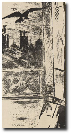 The pile of pillows and the old wig were still feigning sleep when a pair of ravens landed on the windowsill. Artwork: This drawing is in the .