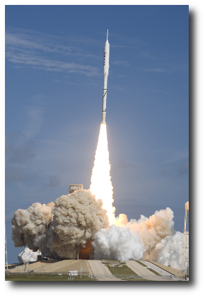 Artwork courtesy of , via Wikimedia. This is an image of a test of the Ares I-X rocket, which is part of the program to once again lift mankind beyond low Earth orbit.