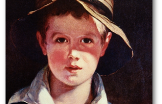 Boy with a torn hat