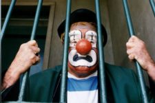 Spuggy The Clown behind bars at Perth prison 1991-1412422